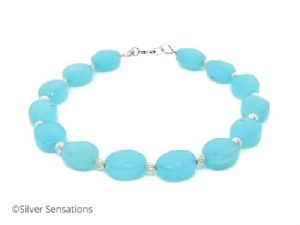 Aqua Blue Amazonite Gemstone Bracelet With Sterling Silver & Faceted Oval Beads